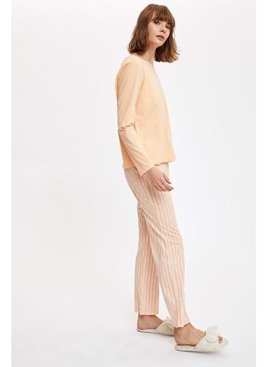 Defacto –Fit Baskılı Uzun Kollu Pijama Takımı Oranj